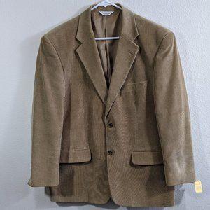 Joseph & Feiss Tan Corduroy Cotton 2 Button Blazer